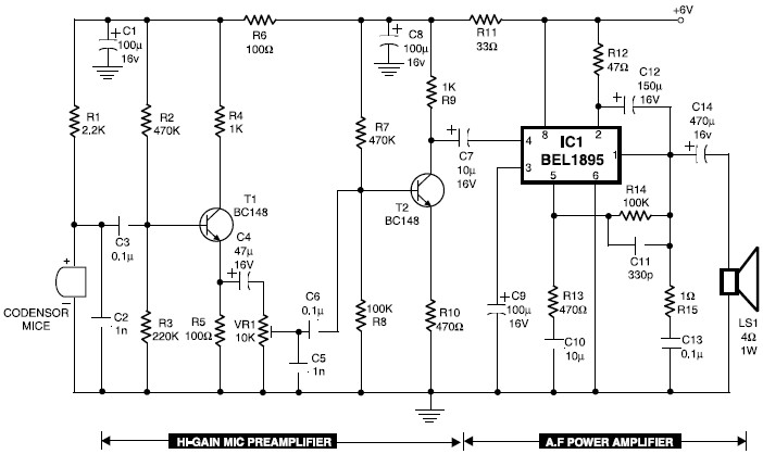 Mic condenser amplifier circuit diagram