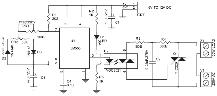 220v 200w Lamp Flasher Circuit Schematic And Pcb Layout