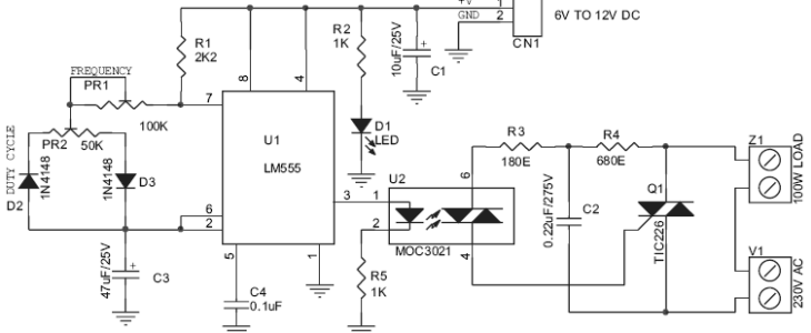 200W Lamp Flasher Circuit Electronic