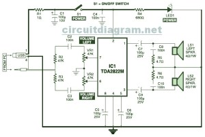 USB Powered, Multimedia Stereo Computer Speaker Circuit Diagram
