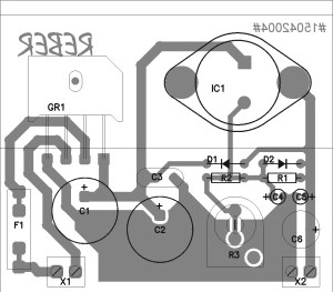 Components placement for variable power supply lm338k