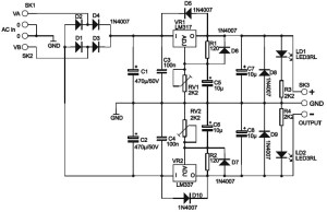 Adjustable Symmetric Power Supply Schematic Diagram