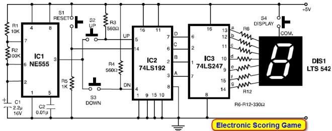 Electronic Scoring Game Circuit Electronic