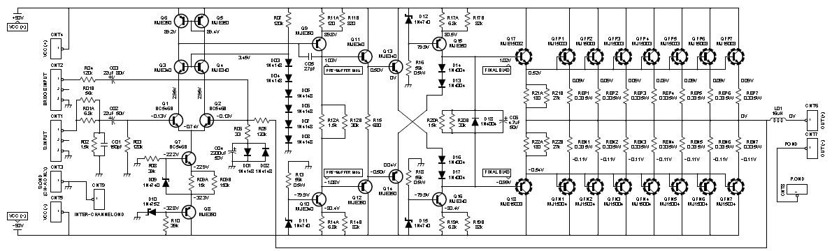 2000W Class AB Power Amplifier  Schematic Design