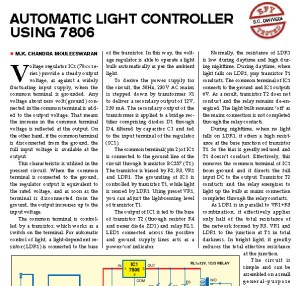 Automatic Light Controller Circuit Project