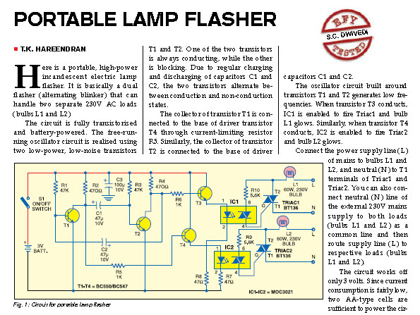 Portable Lamp Flasher Circuit