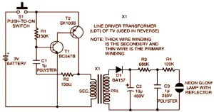 3V Strobe Light Miniature Circuit Diagram