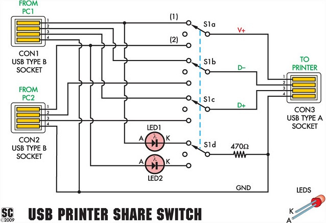 USB Printer Switch Circuit Diagram