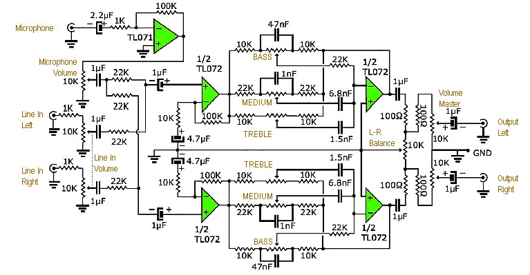 stereo tone control with line in   microphone mixer schematic  u0026 pcb layout