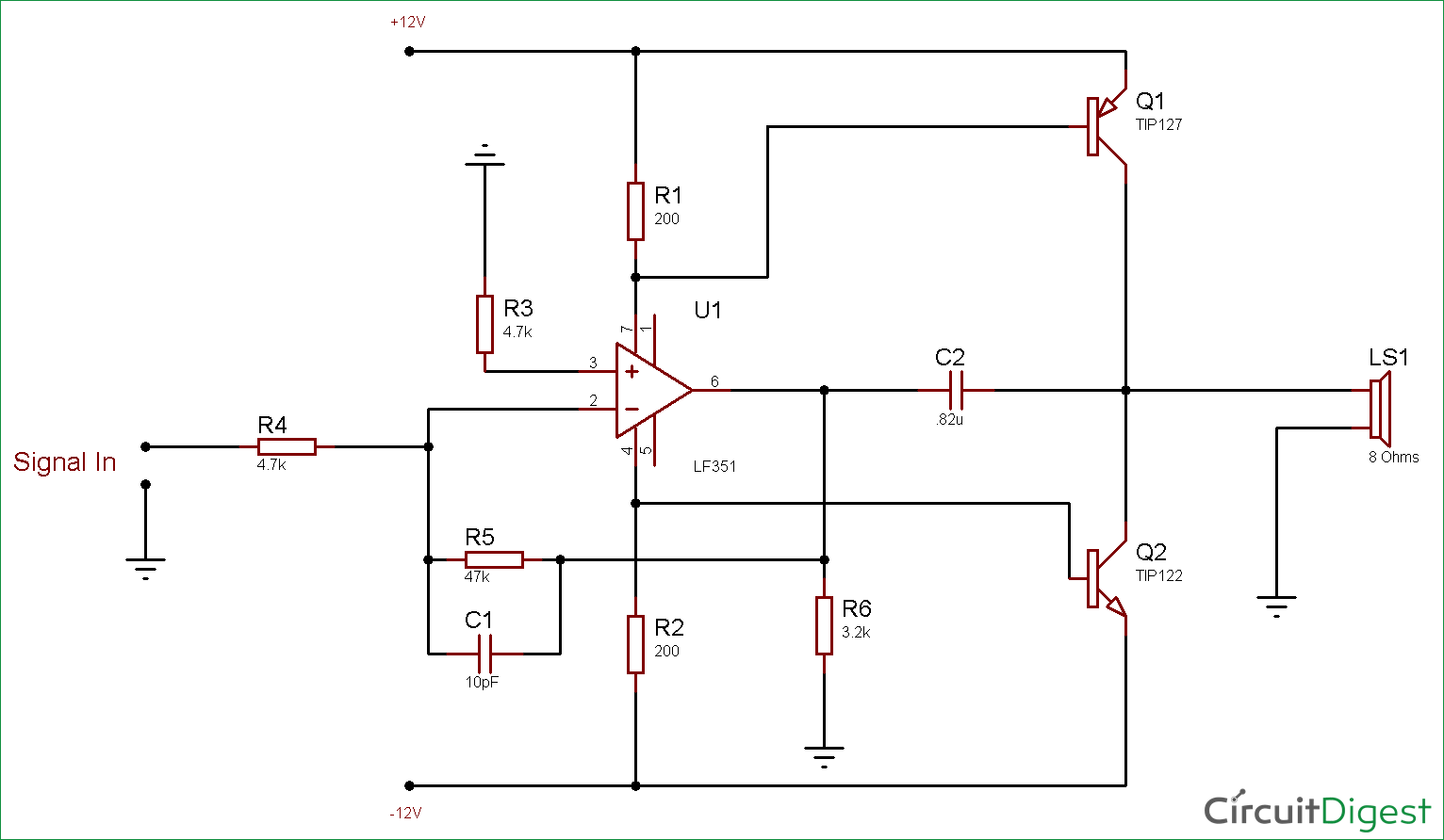 10 Watt Audio Amplifier Circuit Diagram Using Op Amp And