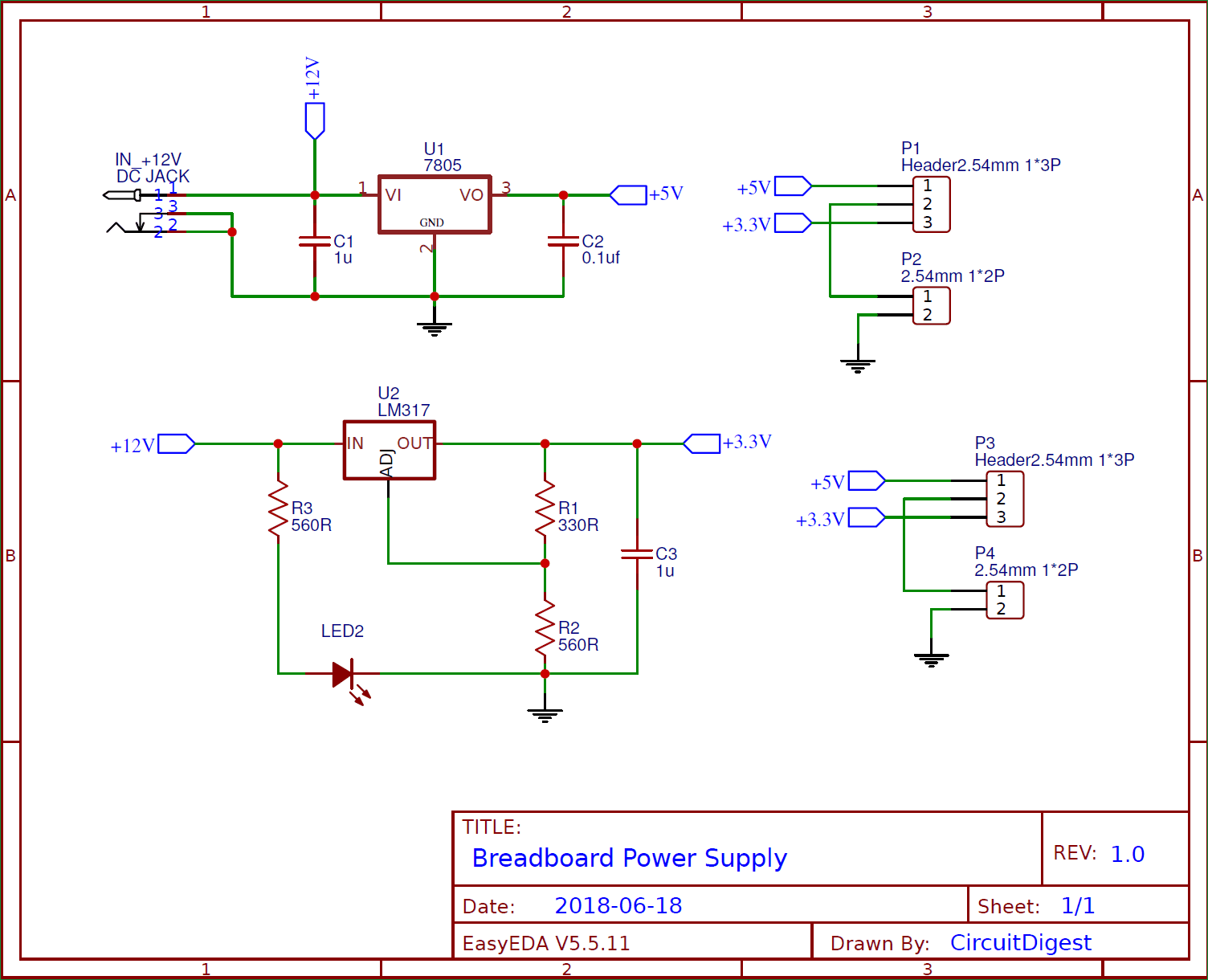 DIY Breadboard Power Supply Circuit On PCB