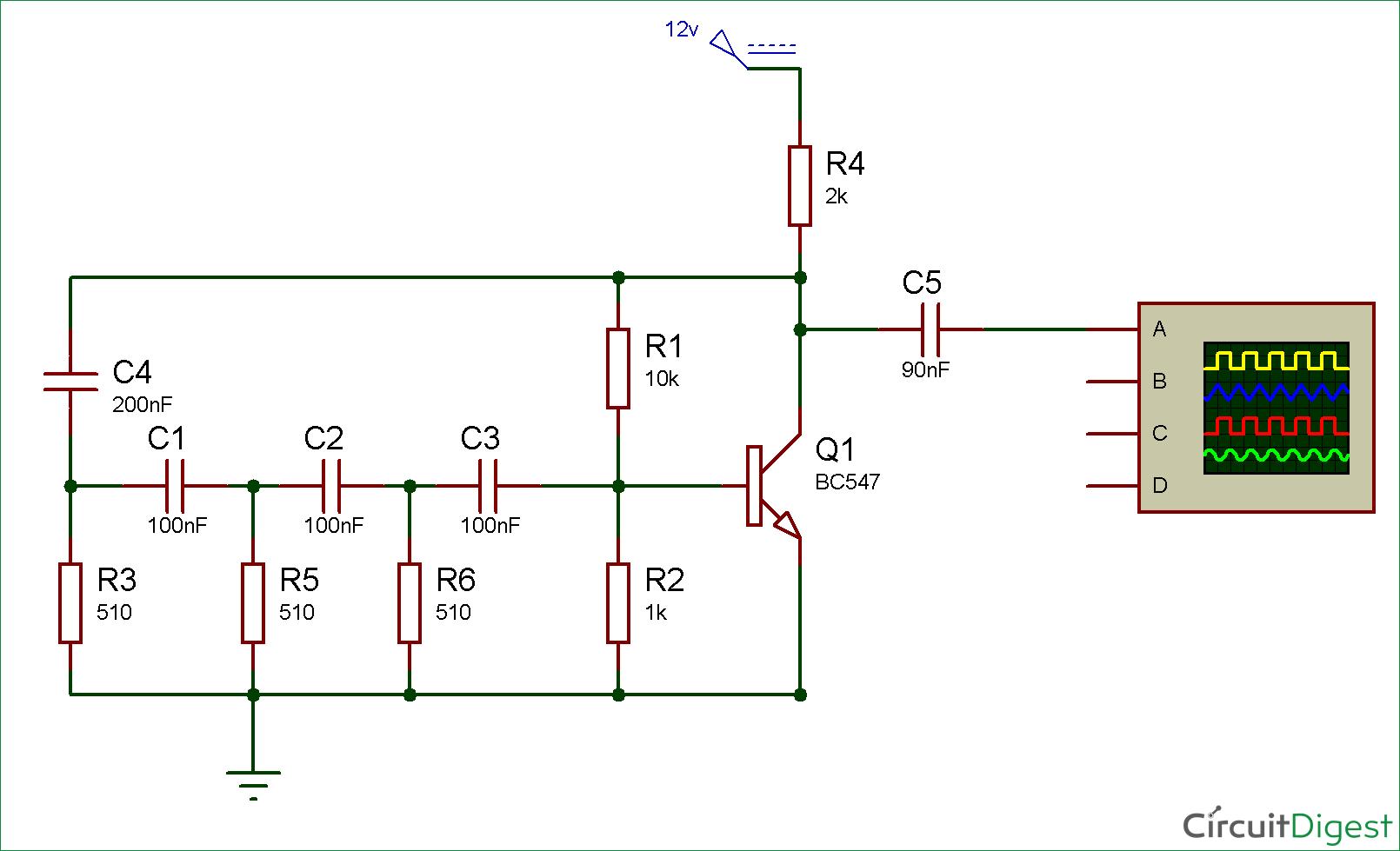Simple Sine Wave Generator Circuit Using Transistor