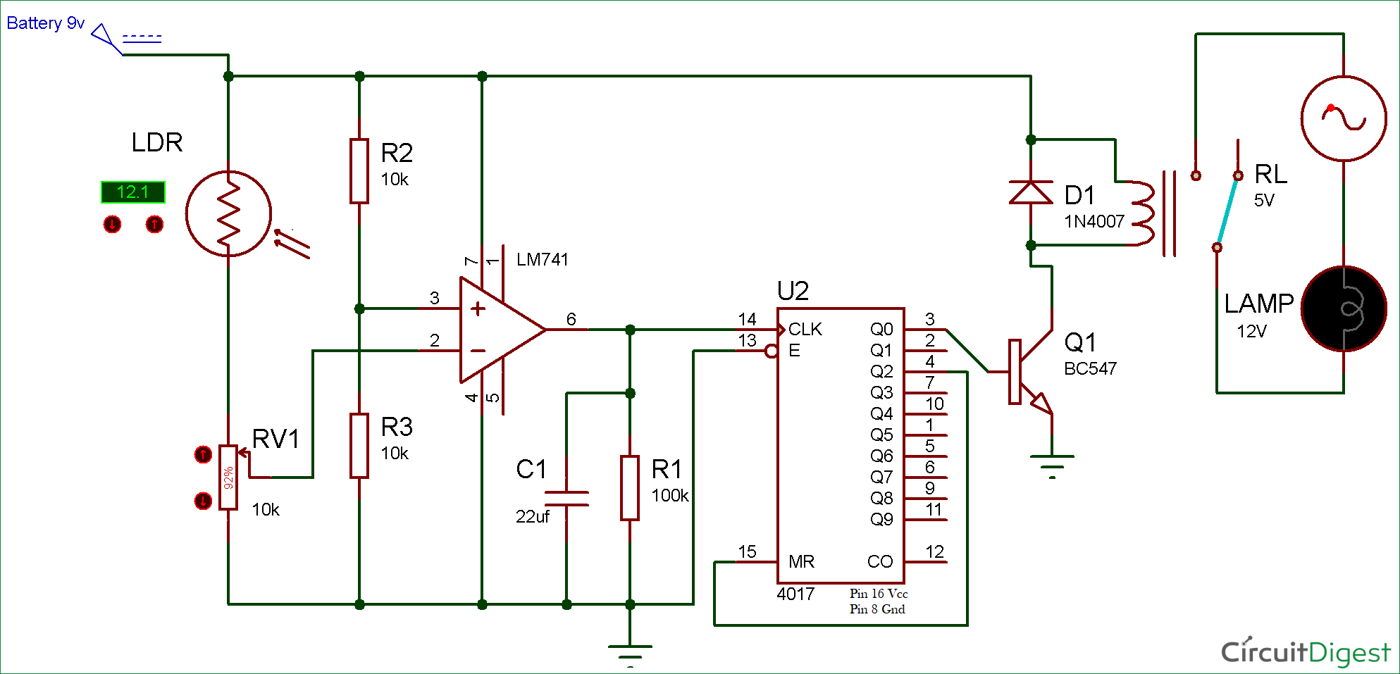 Wireless Switch Circuit Using LDR And CD4017
