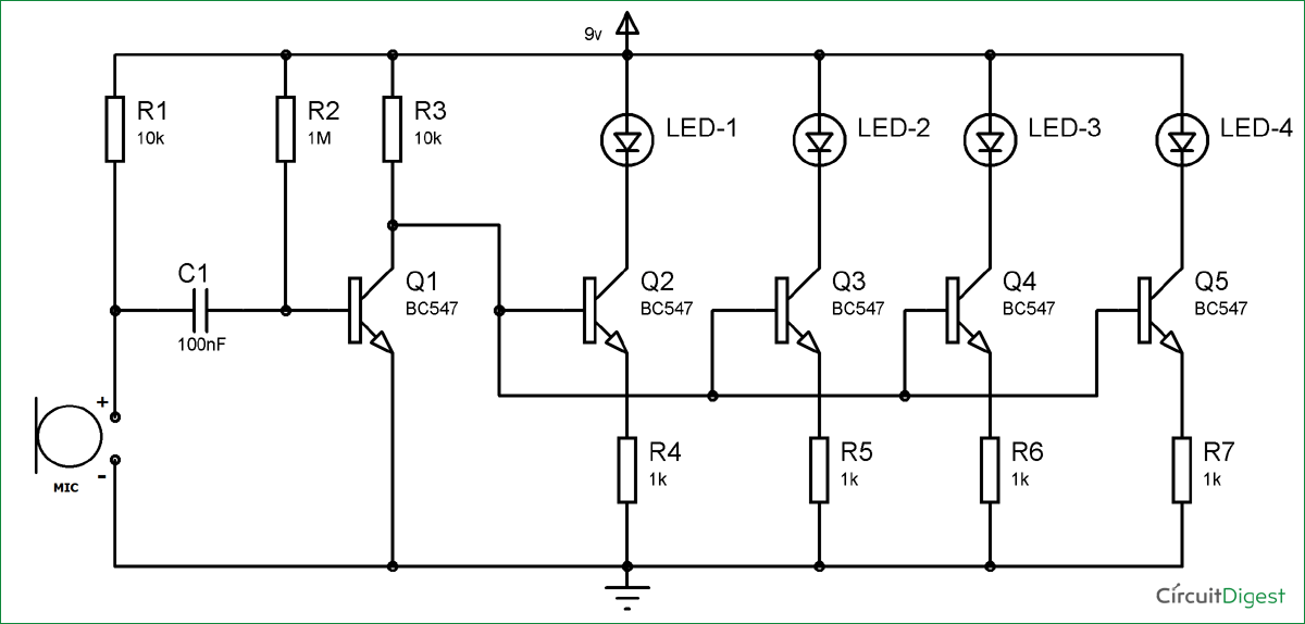 Simple Musical LEDs Circuit Diagram
