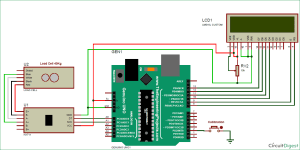 Arduino Weight Measurement Project with Load Cell and HX711 Module Interfacing: Circuit Diagram