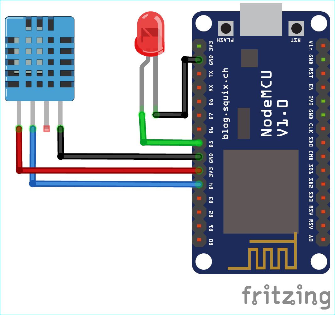 Circuit Diagram for Installing and Testing MQTT Broker on Raspberry Pi