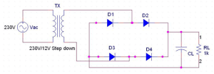 Full Wave Rectifier Circuit Diagram (Center Tapped