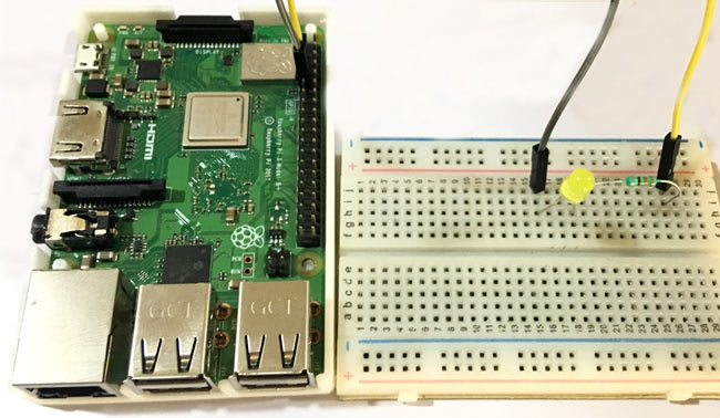 Circuit Hardware for Controlling an LED with Node.js Webserver