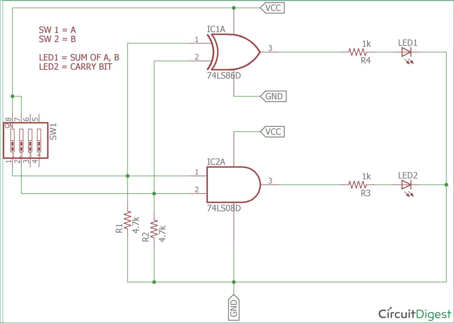 Half Adder Circuit: Theory, Truth Table & Construction