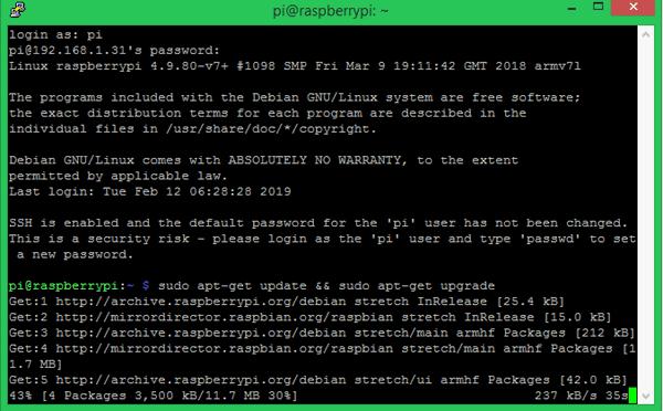 Login to Pi Installing OpenCV on Raspberry Pi using CMake