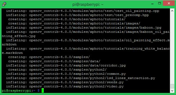 Unzip OpenCV Contrib for Installing OpenCV on Raspberry Pi using CMake