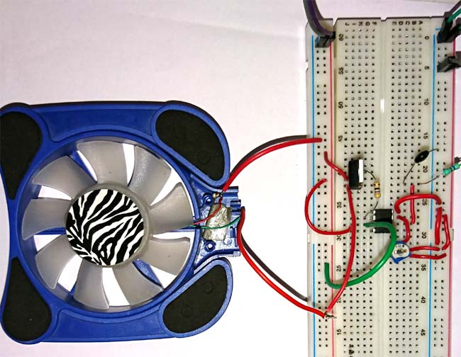 temperature controlled dc fan using