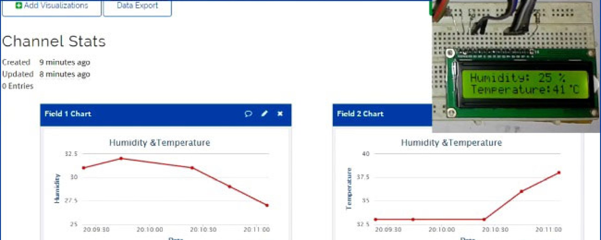 Live Temperature and Humidity Monitoring over Internet using