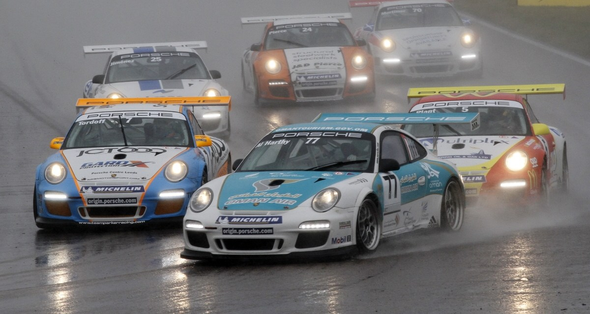 Porsche Carrera GB Championship: Tenth win for Al Harthy at wet Rockingham race