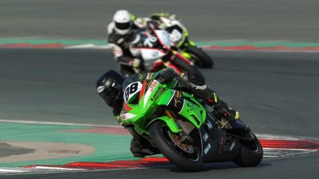 Kawasaki rider Abdulaziz Binladen scored a double win on the day at Dubai Autodrome