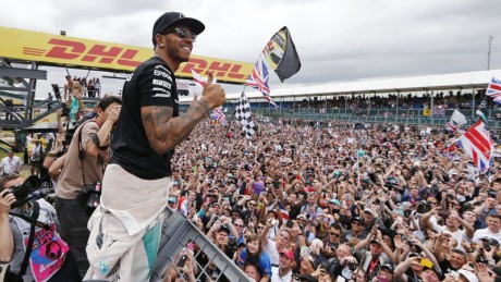 Lewis Hamilton with his fans at Silverstone
