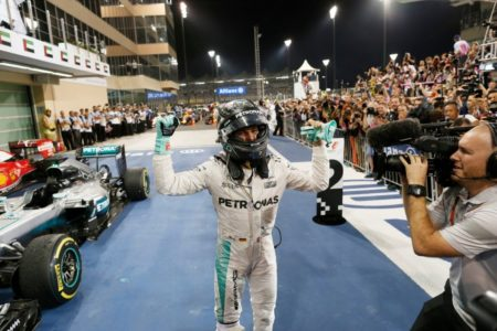 Nico Rosberg celebrates at Yas Marina Circuit