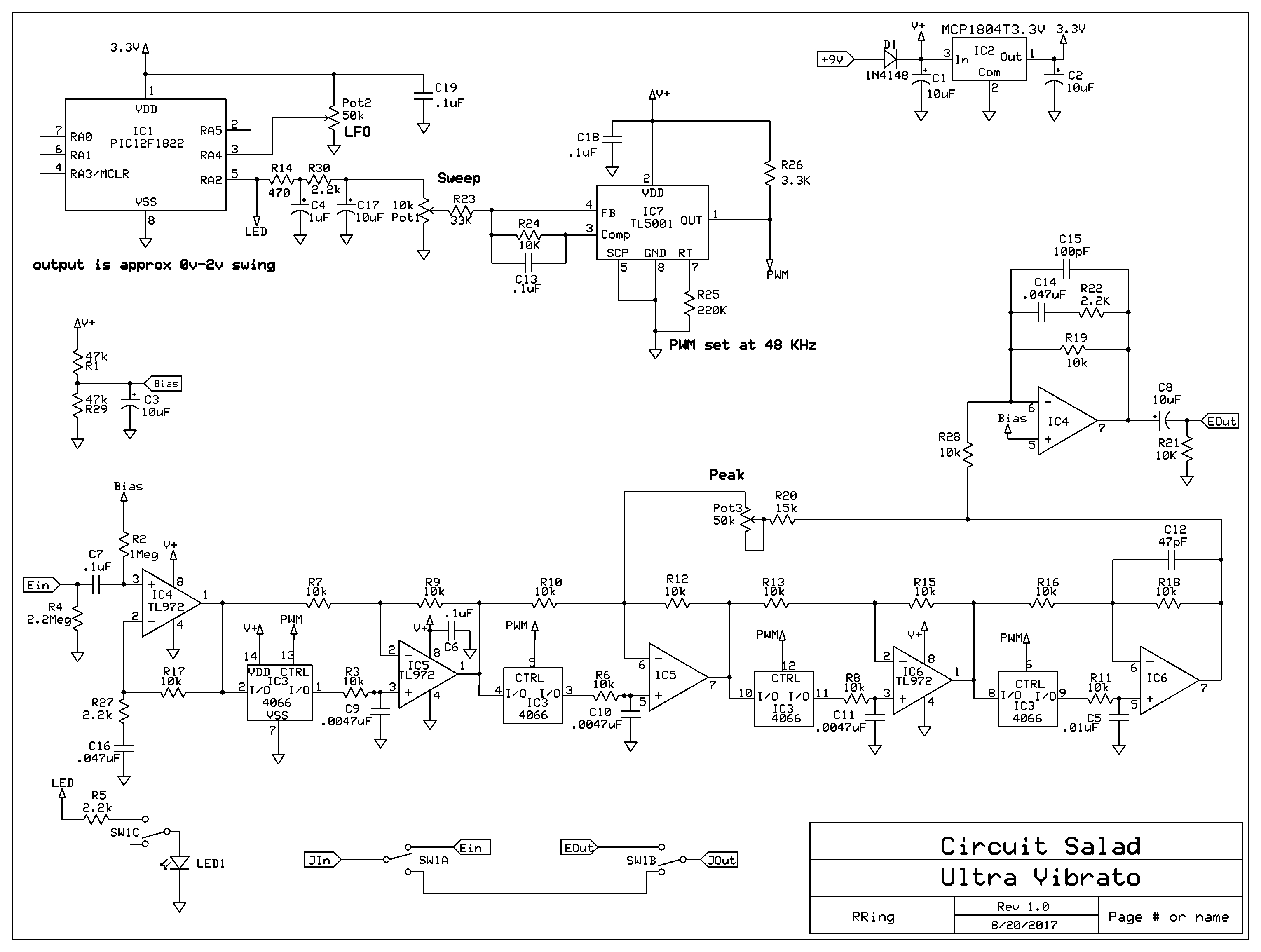 pwm vibrato that sounds awesome! circuit saladlink to schematic
