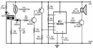 Simple Fire Alarm with Thermistor and NE555  Circuit