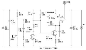 9V FM Radio Transmitter  Circuit Schematic