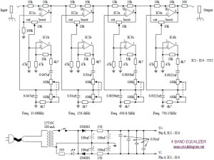 4 Band Equalizer  Circuit Schematic