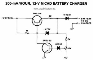 200mAHour  12V NiCAD Battery Charger  Circuit Schematic