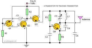 4 Transistor FM Tracking Transmitter  Circuit Schematic