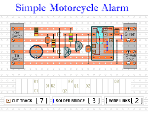 Easy build motocycle alarm component layout