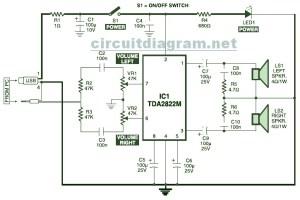 USB Powered, Stereo Computer Speaker  Circuit Schematic