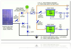 Battery Charger  Small LED Lamp based Solar Cell  Photovoltaic  Circuit Schematic