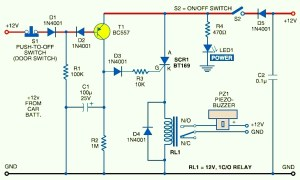 Car AntiTheft Protection with Buzzer  Circuit Schematic