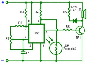 Light Alarm with Timer 555  Circuit Schematic