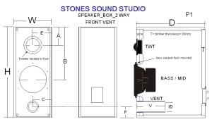 2 Way Speaker Box Design Illustration
