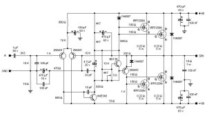 200W MOSFET Amplifier based IRFP250N  Circuit Schematic