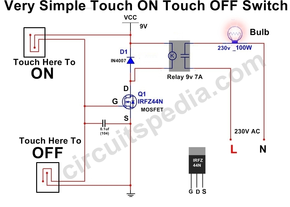 Simple Touch ON And Touch OFF Switch