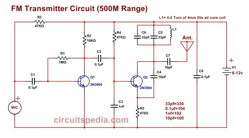 Easy FM Transmitter Circuit, 500m Simple And Best FM
