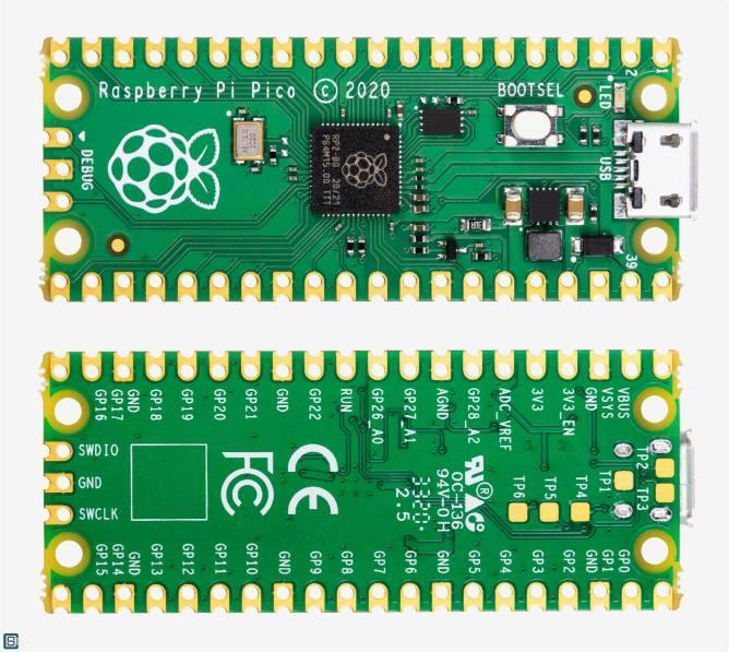 Raspberry-Pi-RP2040-Pico-Microcontroller-PCB-Top-Bottom-1