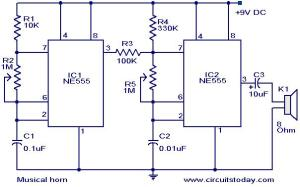 Musical horn circuit  Electronic Circuits and Diagrams