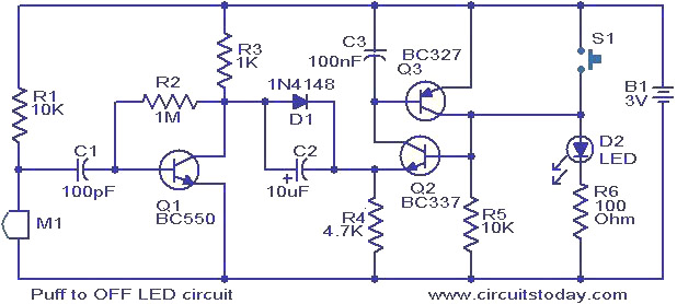 Puff To OFF LED Circuit.