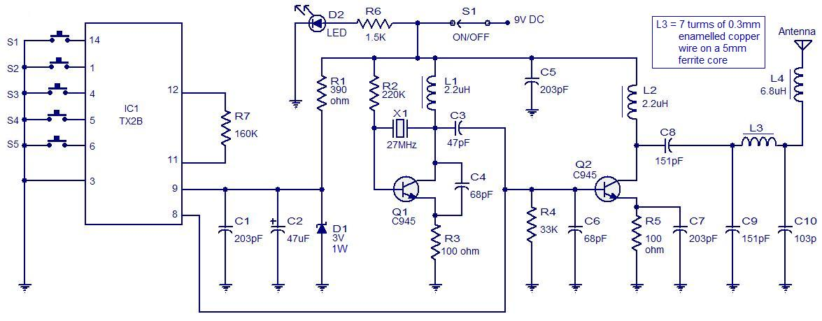 5 Channel Radio Remote Control Circuit Based Of TX-2B / RX